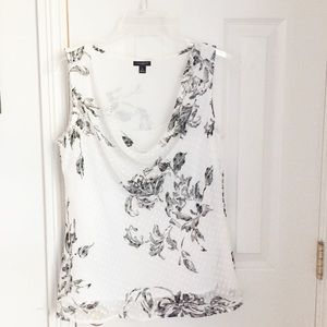Ann Taylor Floral Sleeveless Cowl Neck Top